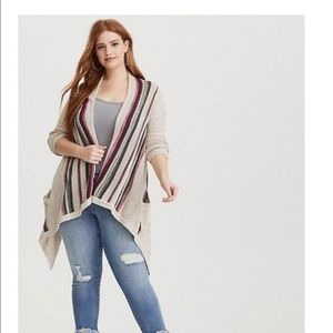 Torrid Border Striped Open Front Draped Cardigan L